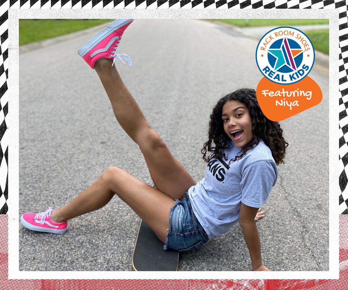 Niya wearing hot pink vans sneakers