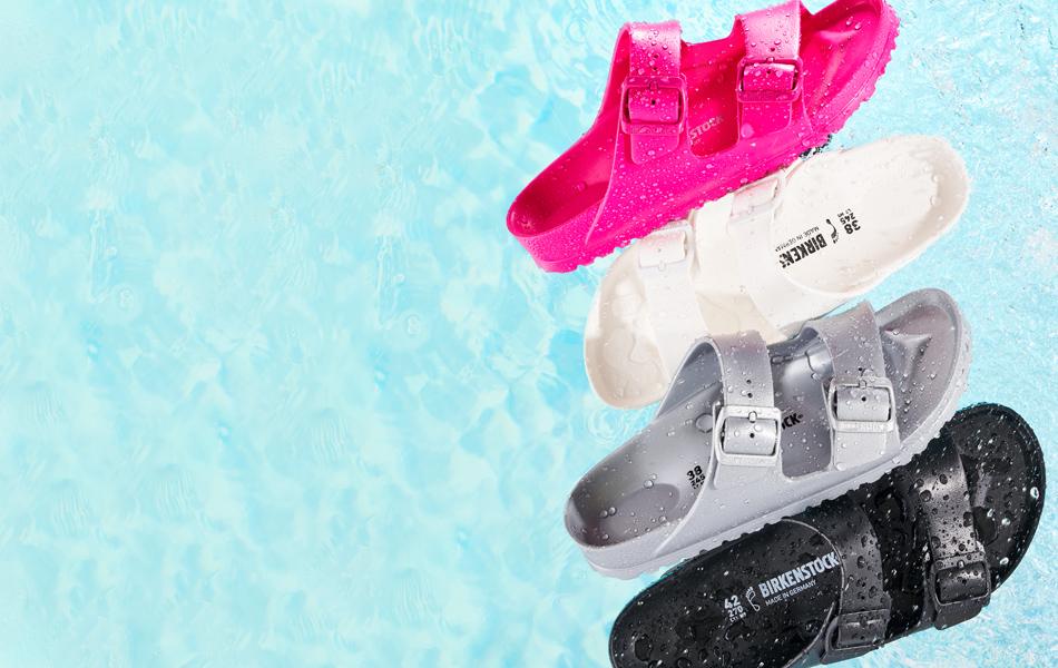 several colors of waterproof Birkenstock sandals