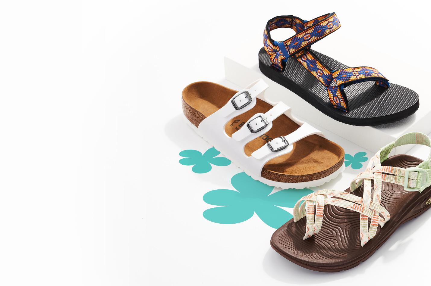assorted teva, birkenstock, and chaco sandals