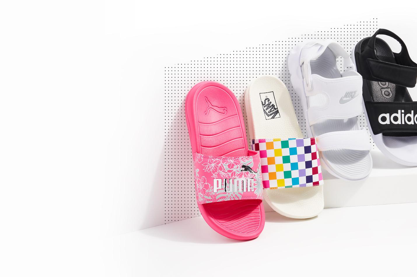 puma, vans, adidas, nike, sandals and slides