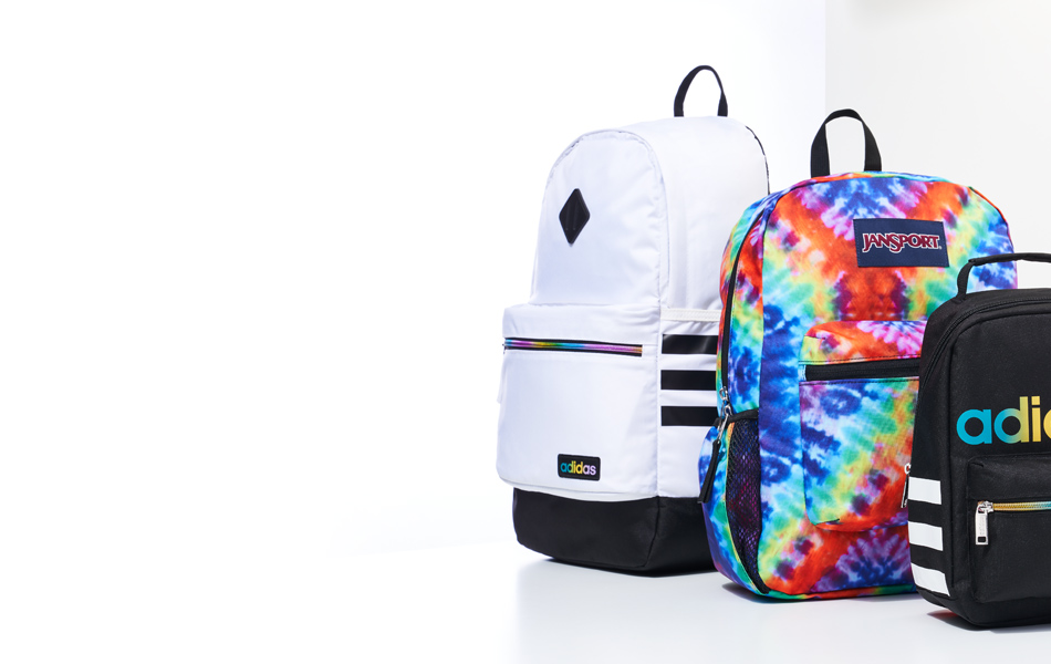 assorted adidas and jansport backpacks