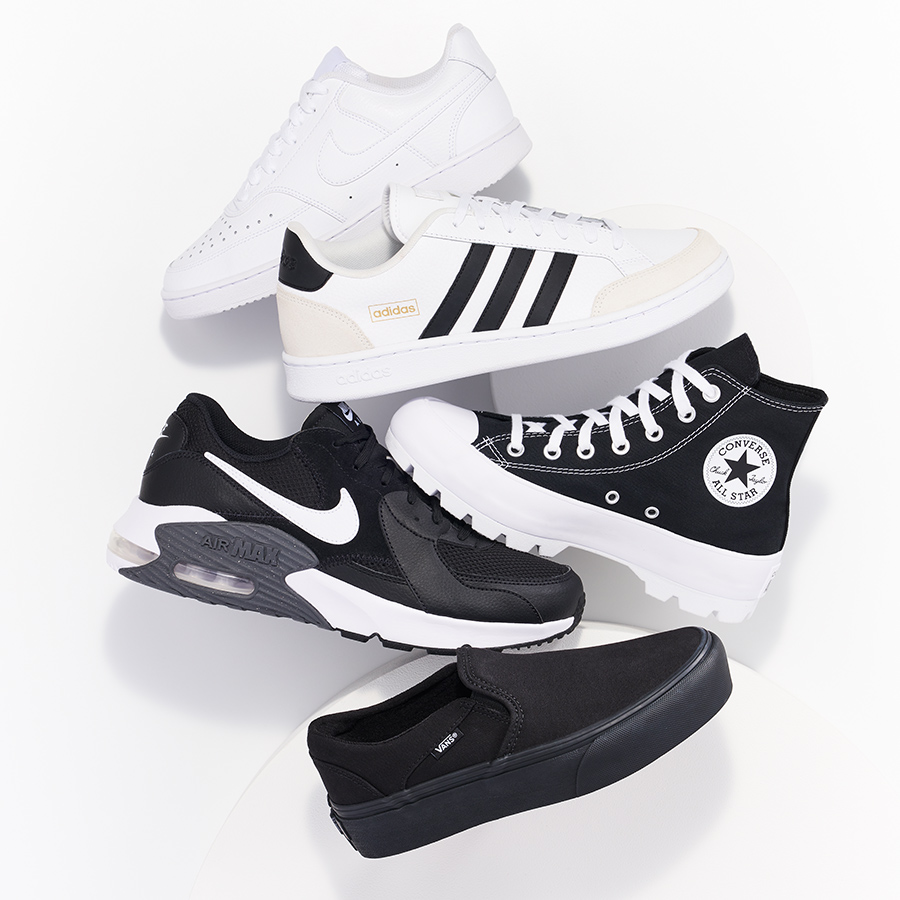 assorted puma, adidas, converse, nike, and vans sneakers