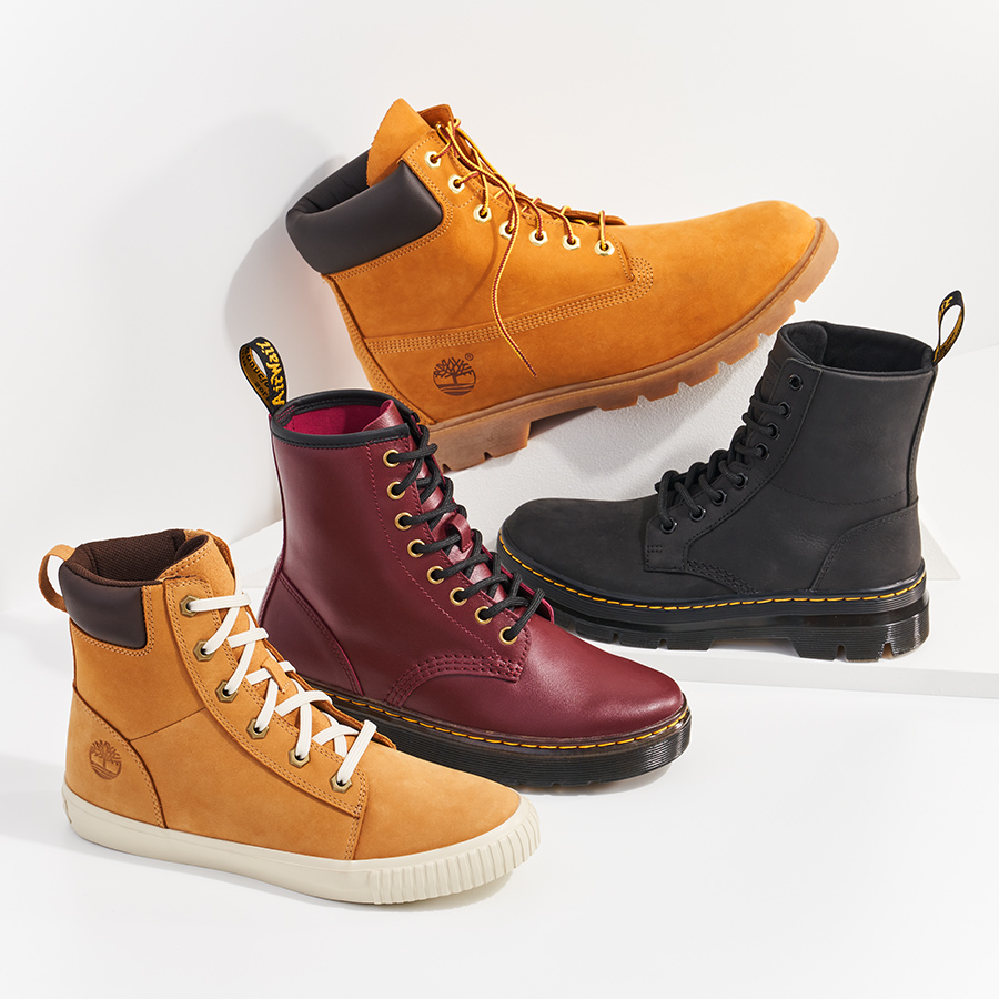 assorted timbeland and dr martens boots