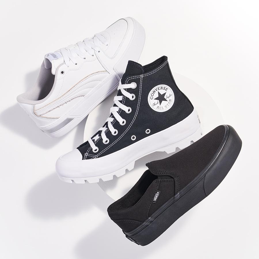 assorted puma, converse, and vans platform sneakers