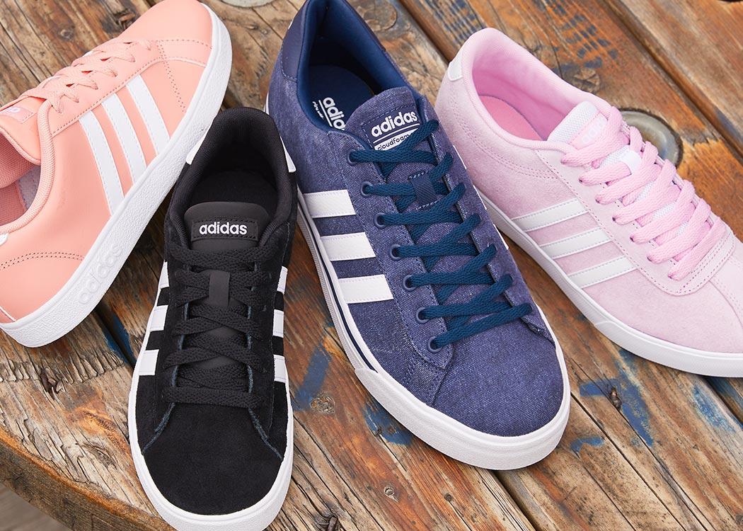 adidas sneaker assortment, peach, black, blue, pink adidas shoes