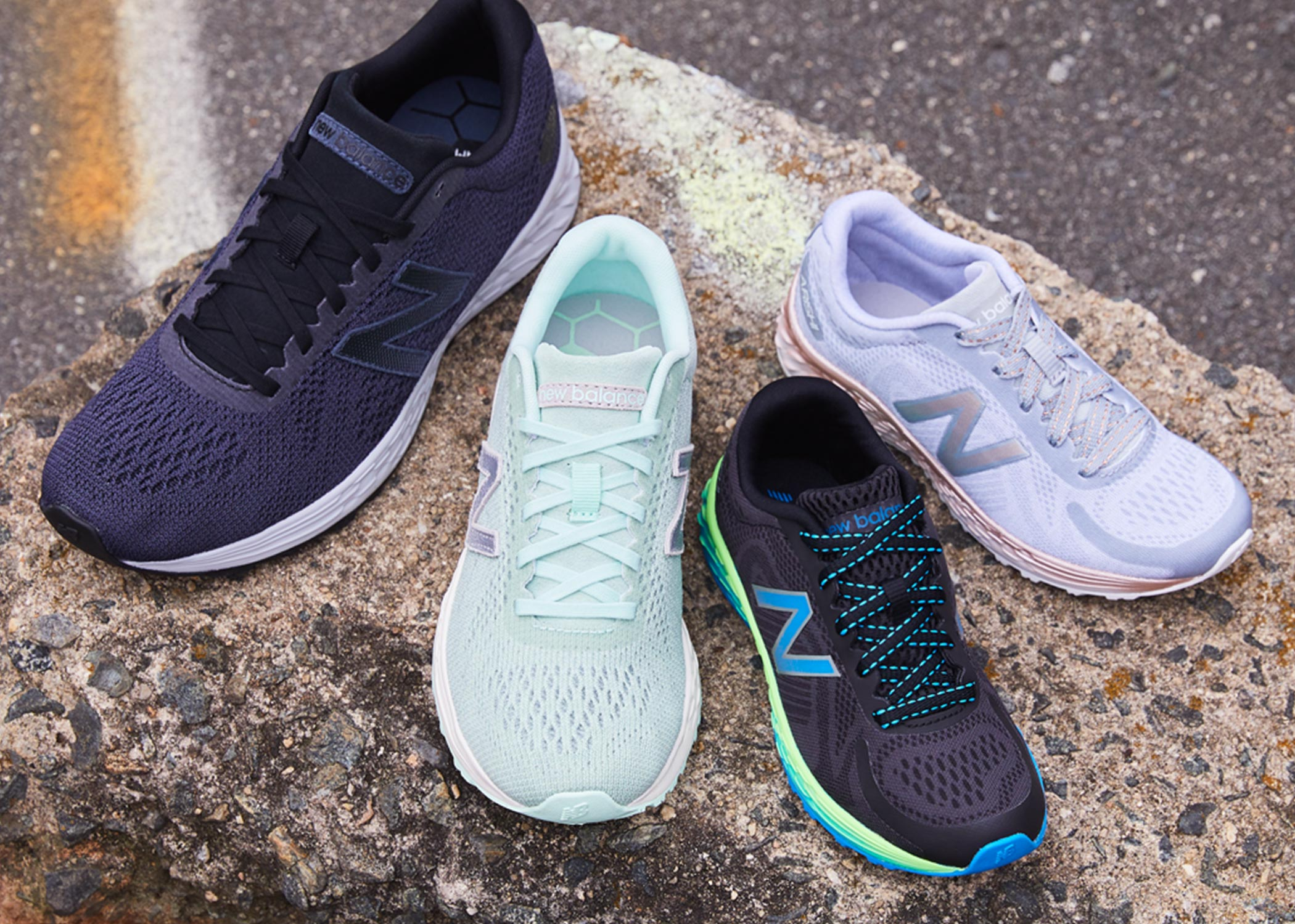multi colored selection on new balance sneakers