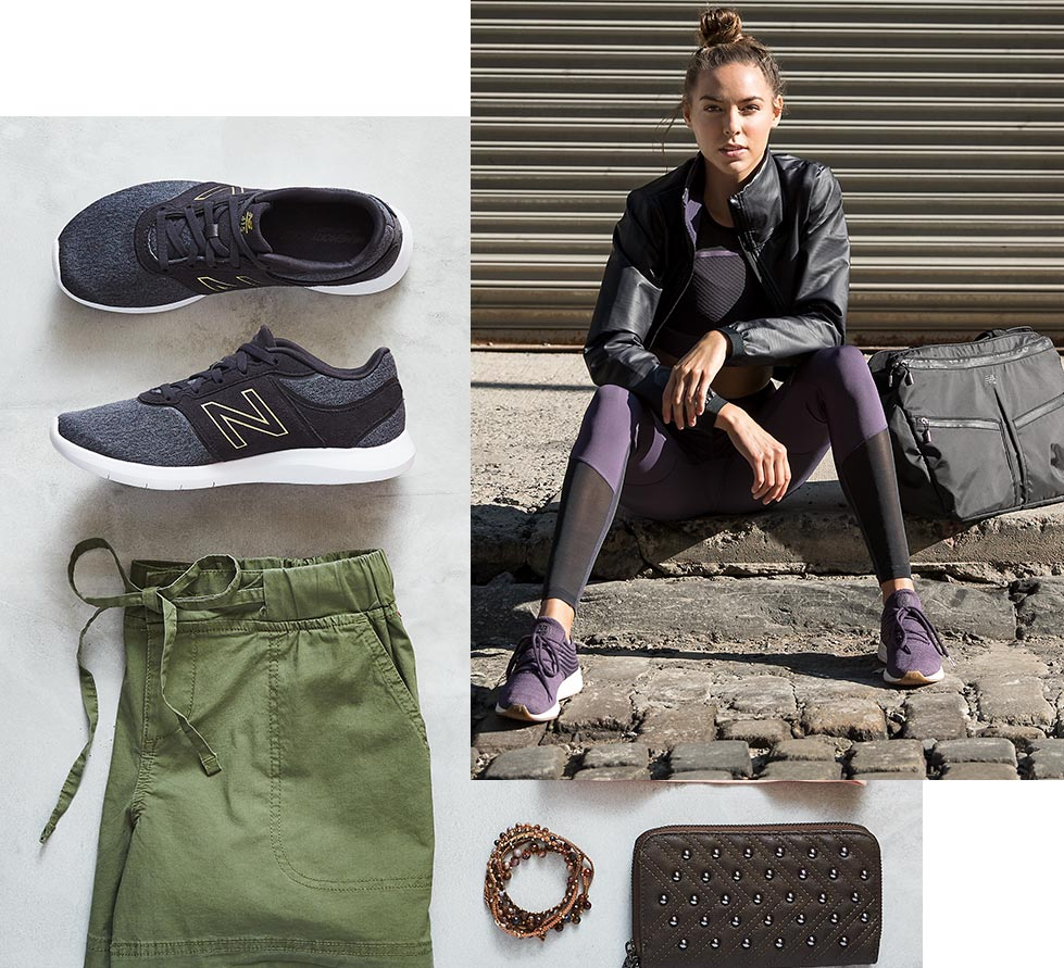 new balance sneakers with urban style clothes and girl