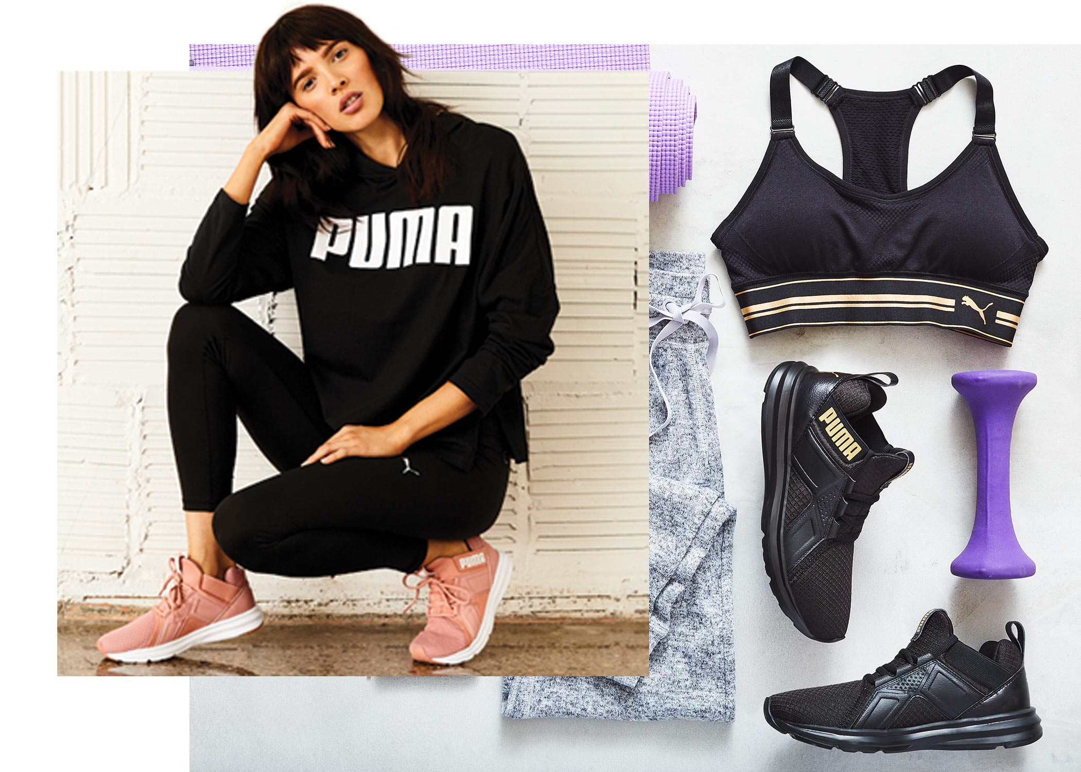 Girl wearing stylish puma athletic clothes and pink puma sneakers